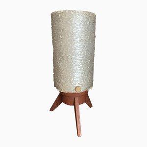 Lámpara de mesa trípode Mid-Century moderna de teca de Maison Arlus, años 50