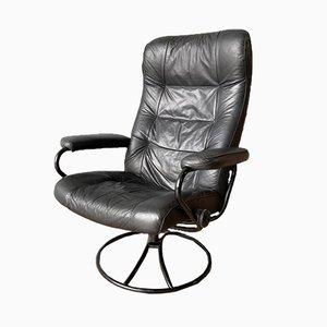 Sillón reclinable Stressless vintage de cuero negro de Ekornes