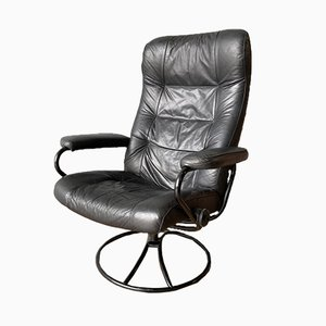 Vintage Black Leather Stressless Swivel Reclining Lounge Chair from Ekornes