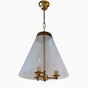 Mid-Century Glass and Brass Chandelier in the Style of Venini, Italy, 1950s