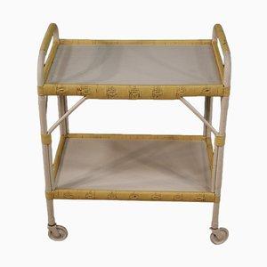 Italian Service Cart in Wood and Wicker