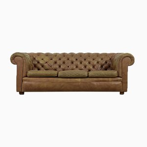 Large Brown Leather Chesterfield Sofa, 1970s