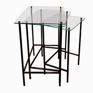 Satztische aus Glas & schwarz lackiertem Metall von Jacques Hitier, Frankreich, 1950er, 3er Set