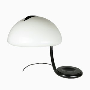 Black Metal and White Perspex Shade Table Lamp by Elio Martinelli for Martinelli Luce, 1960s