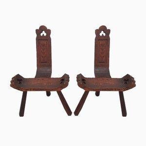Hölzerne Dreibein Stühle, 2er Set