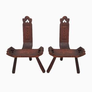 Wooden Tripod Chairs, Set of 2