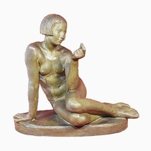 Scultura Art Déco in terracotta di donna nuda, XX secolo.