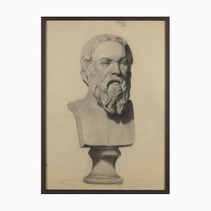 19th Century Plaster Models, Pencil on Paper, Set of 3