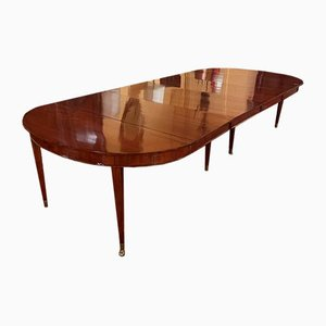Louis XVI Extendable Mahogany Table with 4 Extensions, France