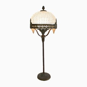 Antique Iron Table Lamp with Crystal Top, Germany, 1930s