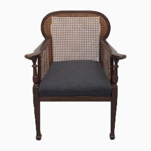 Colonial Armchair in Wood and Cane
