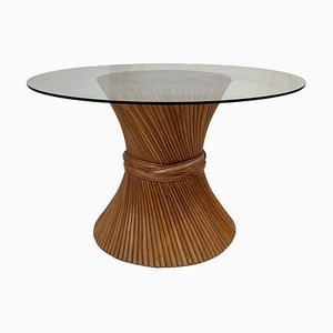 Mid-Century Dining Table with Bamboo Wheat Sheaf Pedestal Base and Glass Top Attributed to McGuire, 1970s