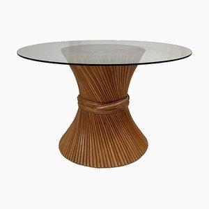 Table de Salle à Manger Mid-Century avec Piédestal en Bambou et Plateau en Verre Attribué à McGuire, 1970s