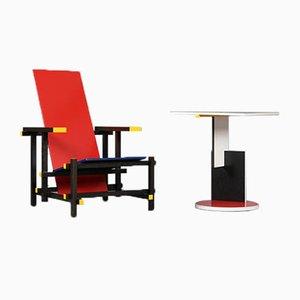 Poltrona e tavolino modello rosso e blu di Gerrit T. Rietveld per Cassina, set di 2
