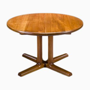 Low Mid-Century Extendable Round Teak Dining Table by Dyrlund, 1970s