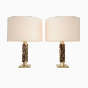 Goldene Bronze Lampen von Luciano Frigerio, 1970er, Italien, 2er Set