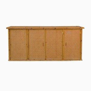 Sideboard aus Korbgeflecht und Bambus mit 4 Türen, 1960er