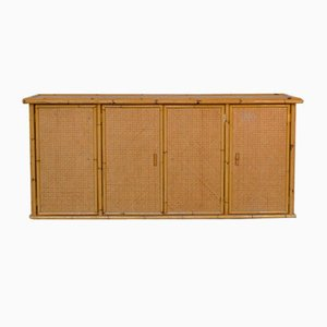 Wicker and Bamboo Sideboard with 4 Doors, 1960s