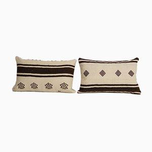 Vintage Organic Striped Lumbar Kilim Rug Cushion Cover, Set of 2