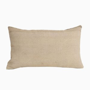 Turkish Traditional Decorative Organic Wool Lumbar Kilim Cushion Cover from Vintage Pillow Store Contemporary