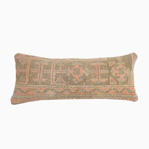 Turkish Ethnic Handcrafted Lumbar Oushak Rug Pillow Cover with Faded Decor from Vintage Pillow Store Contemporary