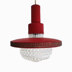 Modernist Red Metal and Glass Hanging Lamp, 1950s