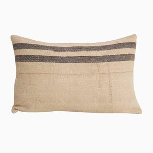 Anatolian Striped Wool Lumbar Kilim Pillow Cover from Vintage Pillow Store Contemporary, Mid-20th Century