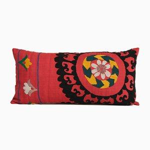 Uzbek Colorful Embroidery Suzani Lumbar Throw Pillow, Suzani Lumbar Pillow Case