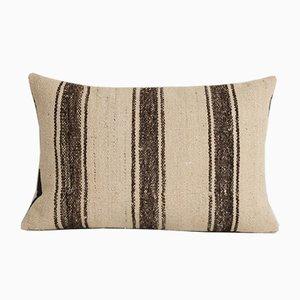 Türkischer Vintage Kelim Überwurfkissenbezug aus organischer weißer Wolle von Vintage Pillow Store Contemporary
