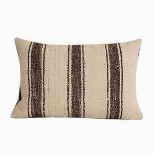 Vintage Turkish Organic White Wool Lumbar Kilim Throw Cushion Cover from Vintage Pillow Store Contemporary