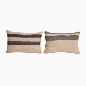 Vintage Turkish White Wool Cushion Cover, Set of 2