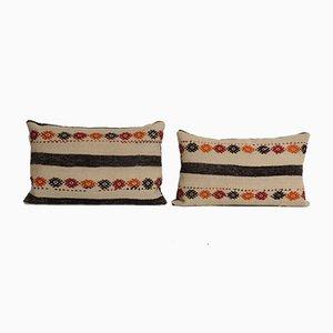 Turkish Organic Boho Ethnic Lumbar Kilim Cushion Cover, Set of 2