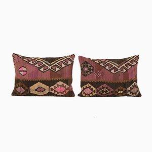 Vintage Turkish Organic Wool Outdoor Kilim Tribal Cushion Covers, Set of 2