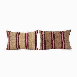 Vintage Turkish Natural Hemp Sisal Kilim Cushion Covers, Set of 2