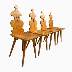 Elsässische Stühle aus Eschenholz, 4er Set