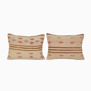 Vintage Striped Kilim Lumbar Tribal Throw Rug Cushion Covers, Set of 2