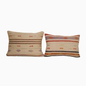 Vintage Striped Lumbar Kilim Throw Rug Cushion Covers, Set of 2