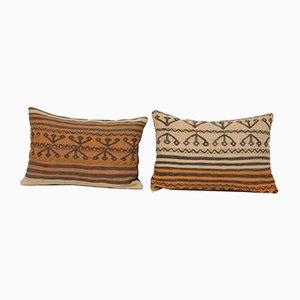 Vintage Turkish Red Wool Kilim Cushion Covers, Set of 2