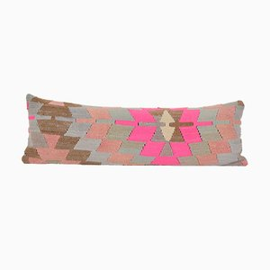 Long Turkish Handwoven Organic Pink Kilim Tribal Bedding Cushion Case
