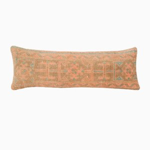 Mid-Century Copper Tribal Lumbar Oushak Cushion Cover with Farmhouse Decor