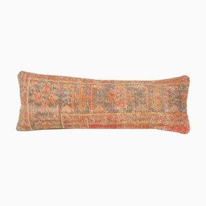 Vintage anatolische handgefertigte längliche verblasste Wollkissenbezüge