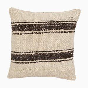 Vintage Bohemian Hand Woven Striped Organic Hemp Kilim Cushion Cover