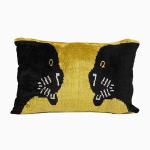 Boho Velvet Panther Ikat Lumbar Cushion Cover