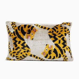 Boho Gelber Samt Tiger Ikat Kissenbezug