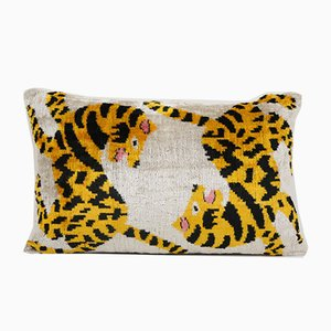 Boho Yellow Velvet Tiger Ikat Lumbar Cushion Cover