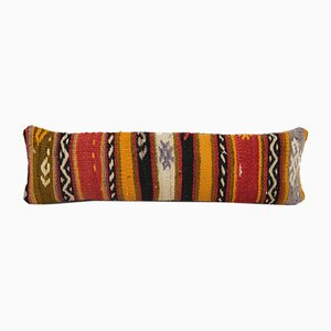 Turkish Ethnic Striped Pastel Color Wool Lumbar Kilim Cushion Cover from Vintage Pillow Store Contemporary