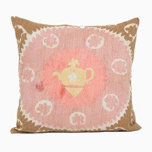 Oversize Uzbek Handmade Pink Tribal Suzani Cushion Cover, 1960s