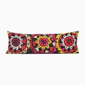 Extra Long Tribal Uzbek Suzani Lumbar Bedding Cushion Cover