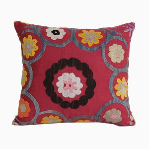Vintage Handmade Square Red Suzani Cushion Cover