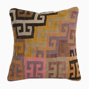 Türkischer Vintage Boho Kars Kelim Kissenbezug aus Wolle von Vintage Pillow Store Contemporary